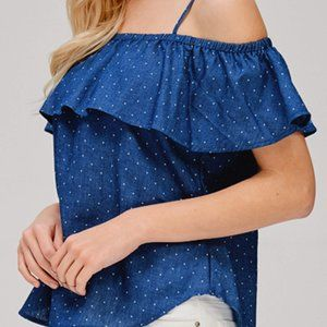 Breezy Denim Blue Polka Dot Top